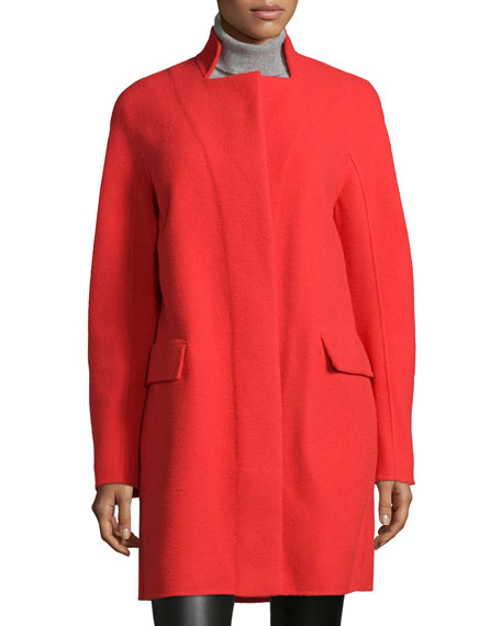 Halston Heritage Double-Faced Coat W/ Stand Collar