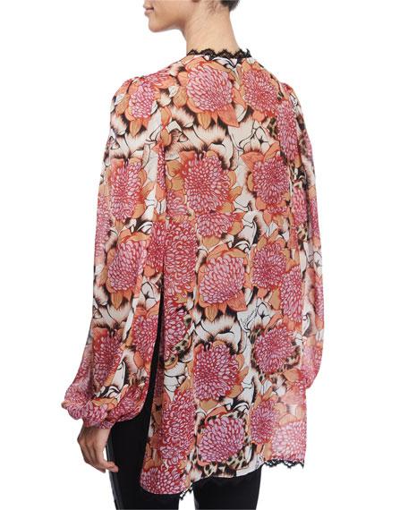 Kiku Floral-Print Long-Sleeve Caftan, Off White