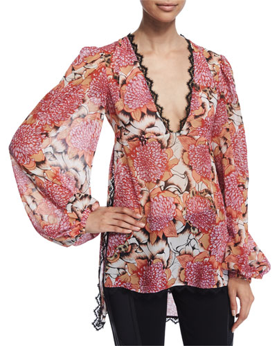 Kiku Floral-Print Long-Sleeve Caftan, Off White