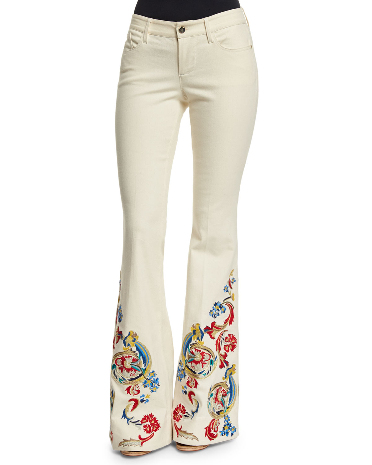 Alice + Olivia Ryley Low-Rise Embroidered Flare Jeans, Cream/Multicolor |  Neiman Marcus