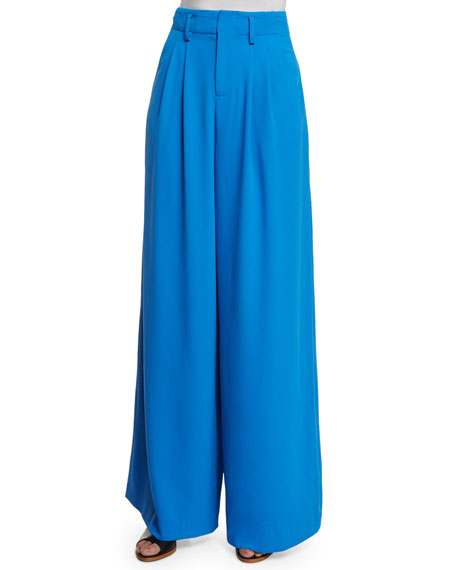 Alice   Olivia Eloise Straight Wide-Leg Pants, Royal Blue
