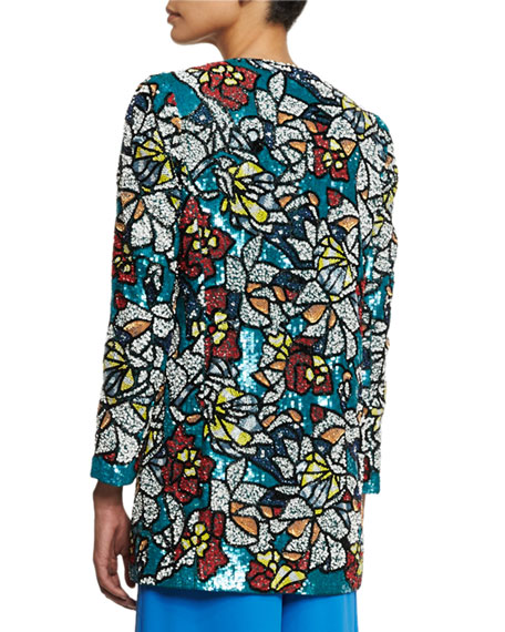 Alice + Olivia Rory Sequined Coat, Multicolor
