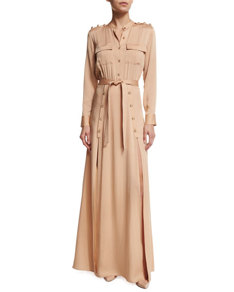 Self PortraitLong-Sleeve Crepe Military Maxi Dress, Camel