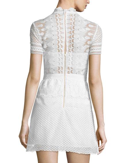Sculpted Teardrop Peplum Dress, Off White