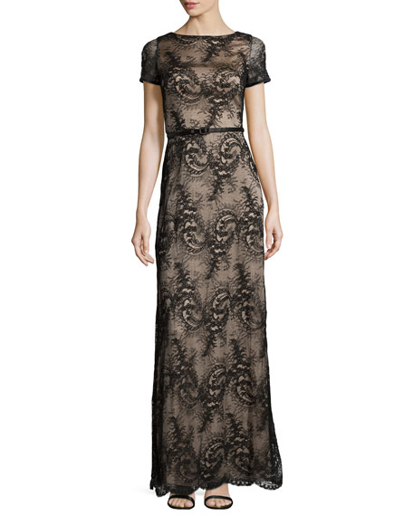 Catherine Deane Short-Sleeve Belted Lace Gown