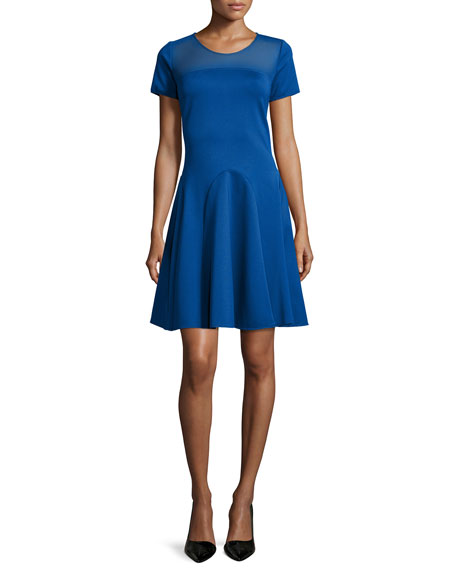 Halston Heritage Short-Sleeve Mesh-Yoke Dress, Marine
