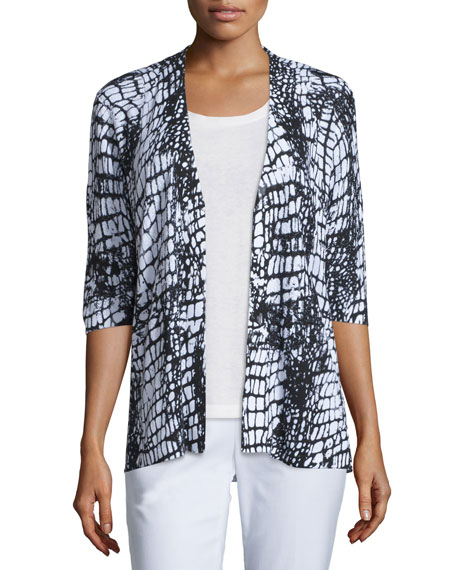 Lafayette 148 New York Textured Printed Cardigan
