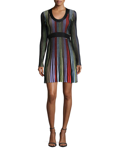 Long-Sleeve Colorblock Dress, Multi Colors