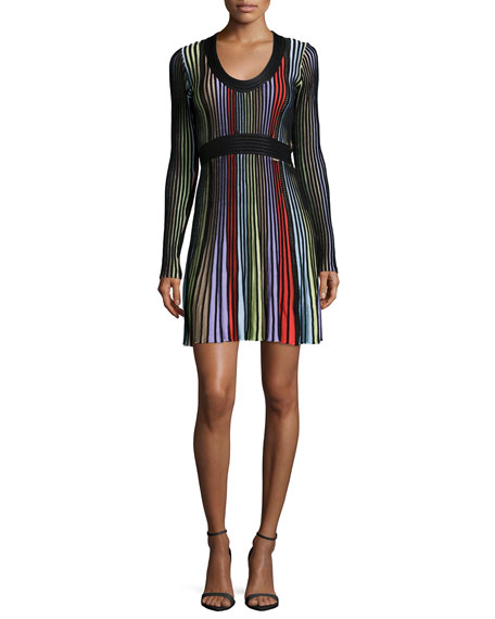 Just Cavalli Long-Sleeve Colorblock Dress, Multi Colors