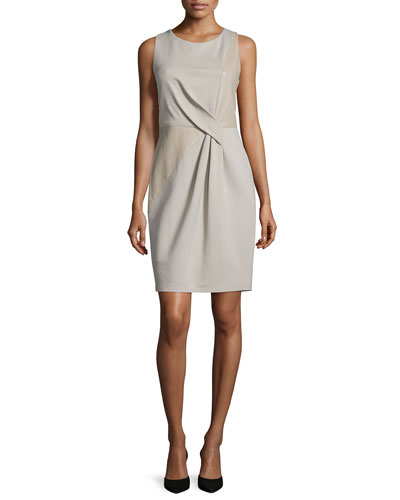 Halston Heritage Sleeveless Combo Sheath Dress, Stone
