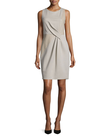 Halston HeritageSleeveless Combo Sheath Dress, Stone