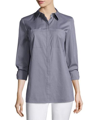Kadine Long-Sleeve Blouse, Steel Gray