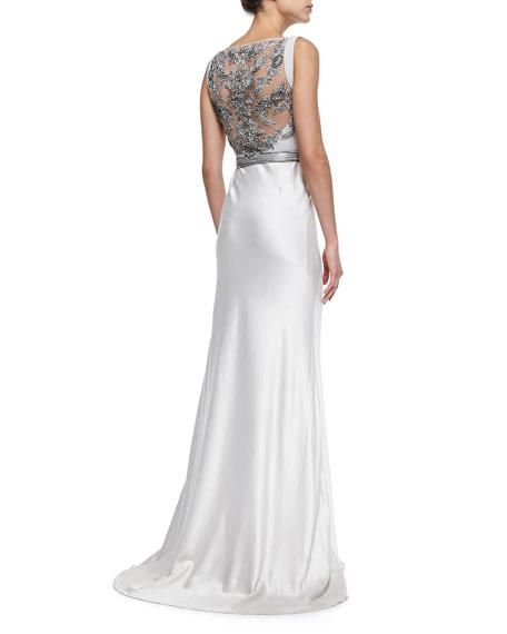 Zyla Sleeveless Satin Beaded-Back Gown
