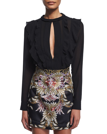 Just Cavalli Long-Sleeve Ruffled Chiffon Blouse