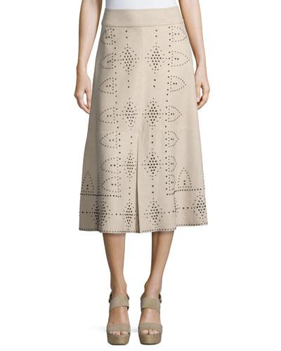 Giselle Studded Leather Tea-Length Skirt, Tan