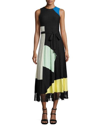 Lomi Abstract Pleated Midi Dress