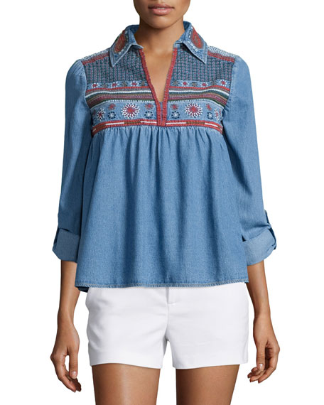Alice + Olivia Karly Embroidered Chambray Top, Blue