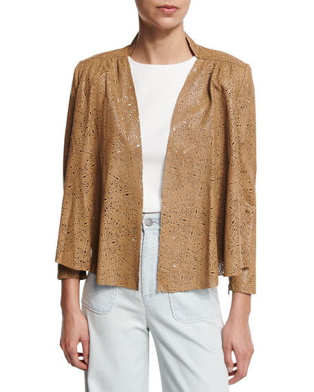 Alice + Olivia Vanna Laser-Cut Leather Jacket, Tan