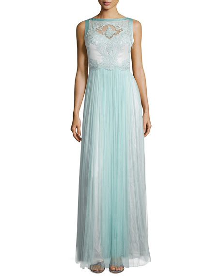 Catherine Deane Sleeveless Lace Bodice Gown