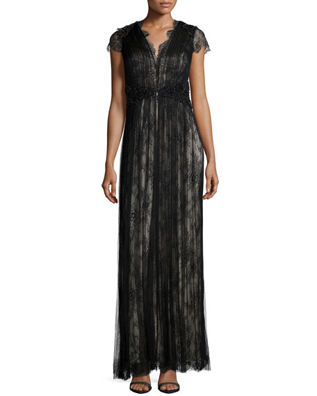 Catherine DeaneShort-Sleeve Lace Gown, Black/Silver
