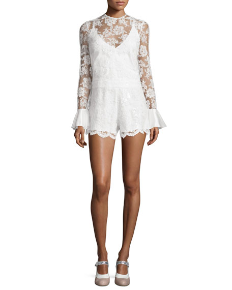 Alexis Yumi Long-Sleeve Lace Romper, White