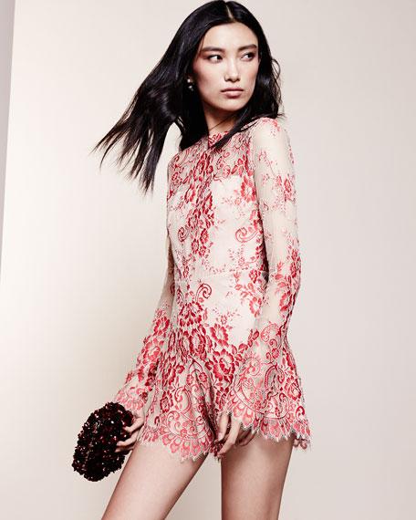 Li Long-Sleeve Lace Romper, Red