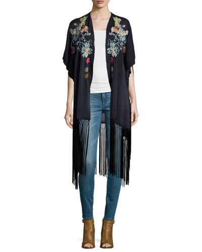 Argent Embroidered Kimono with Fringe Hem, Women's