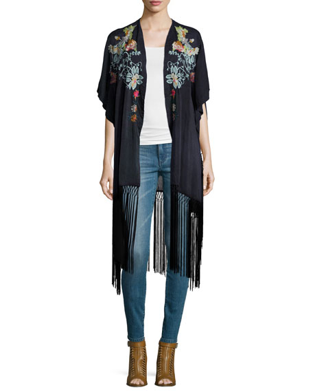 Johnny Was CollectionArgent Embroidered Kimono with Fringe Hem,