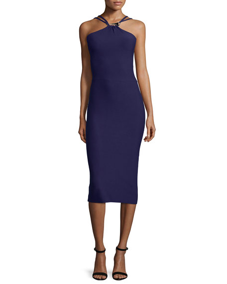Halston HeritageHalter-Neck Sweater Dress W/Cutouts, Aubergine