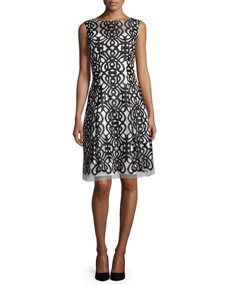 Sleeveless Embroidered Dress, Black/Ivory