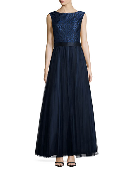 Sleeveless Embroidered-Bodice Gown, Navy