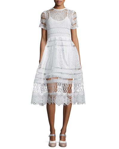 Alexis Alanna Short-Sleeve Lace Midi Dress, White