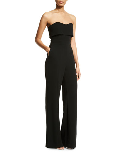 Ruba Strapless Popover Jumpsuit, Black