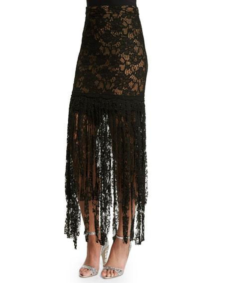 Alexis Romina Lace Tassel Skirt, Black