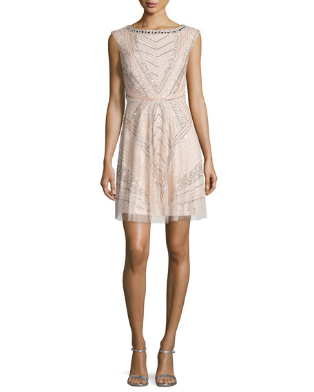 Aidan Mattox Sleeveless Bateau-Neck Embellished Cocktail Dress,