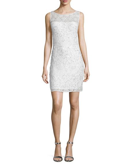 Embellished-Lace Cocktail Dress, Ivory