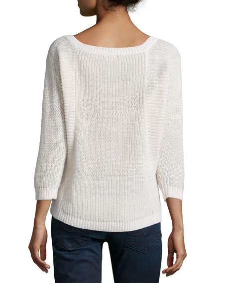 Ember 3/4-Sleeve Ribbed Sweater, Natural/Gold