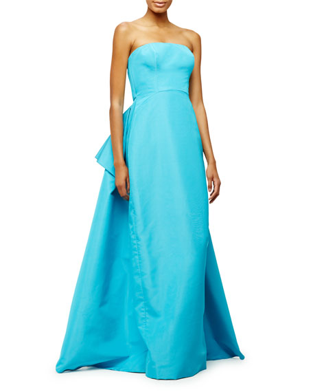 Pamella Roland Strapless Pleated-Back Gown, Aqua