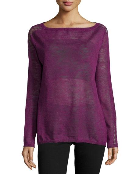 Halston Heritage Sheer Slub Sweater, Electric Purple