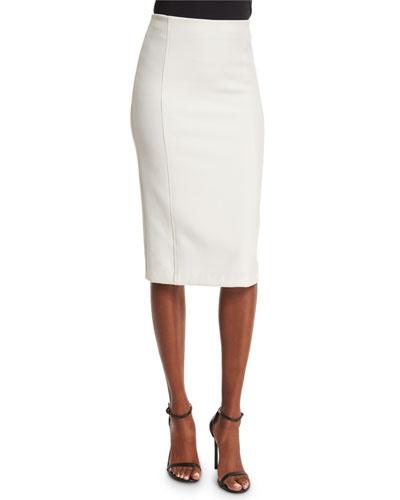 Jarrett Seamed Pencil Skirt, White