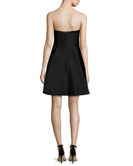 Strapless Sweetheart-Neck Party Dress, Black