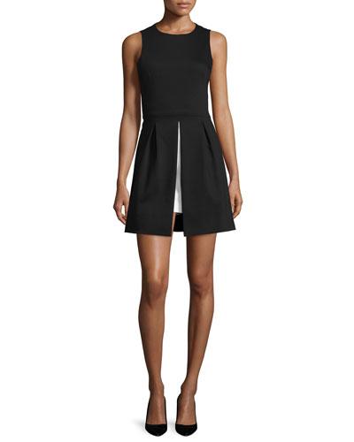 Bria Vented A-Line Dress, Black/White