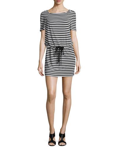 Diane von Furstenberg Amal Striped Jersey Dress, Black/White