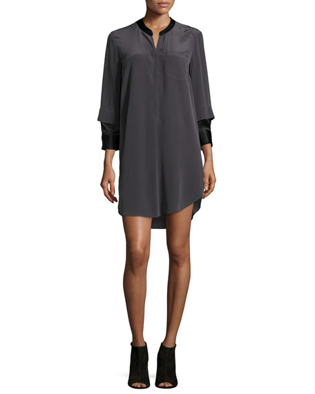 3/4-Sleeve Two-Tone Shirtdress, Charcoal