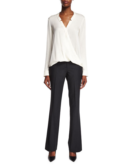 Halston Heritage Long-Sleeve Wrap Blouse, Bone