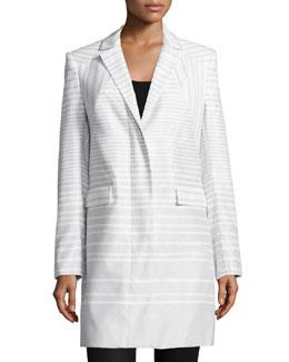 Long-Sleeve Striped Coat, Bone