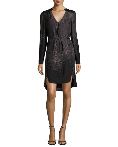 Halston Heritage Long-Sleeve Belted Shirtdress, Black Print