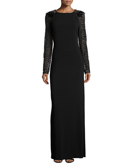 Halston Heritage Long-Sleeve Embellished Shoulder Gown, Black/Gunmetal