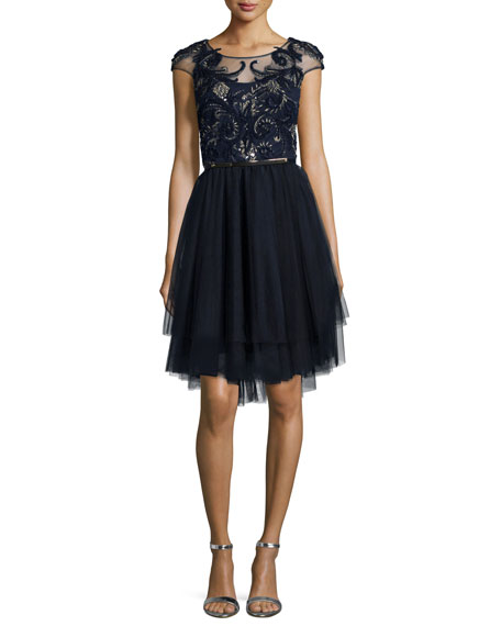 Marchesa Notte Cap-Sleeve Embroidered Tulle Dress