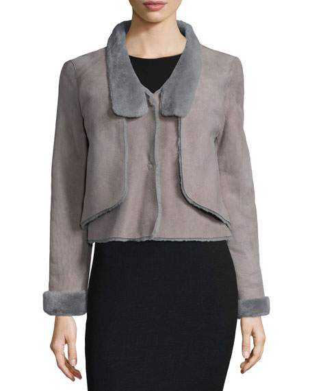 Halston Heritage Long-Sleeve Shearling Short Jacket, Charcoal